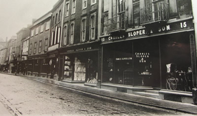 Exterior view of Charles Sloper's shops